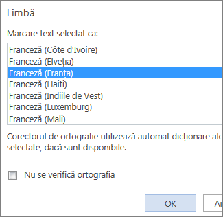 Imagine a listei Setare limbă de verificare din Word Web App.