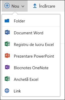Crearea unui fișier nou într-o bibliotecă de documente în Office 365