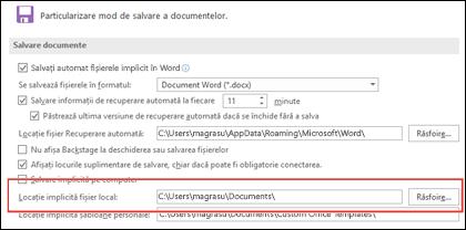 Opțiunile de salvare din Word, afișând setarea de folder de lucru implicită