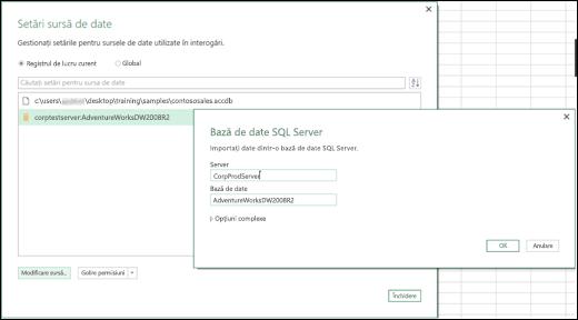 Îmbunătățirile setărilor sursei de date din Excel Power BI