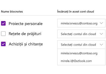 Încărcarea blocnotesurilor într-un cont de cloud