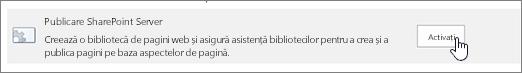 Activarea opțiunii de publicare sharepoint sub Caracteristici colecție de site-ul