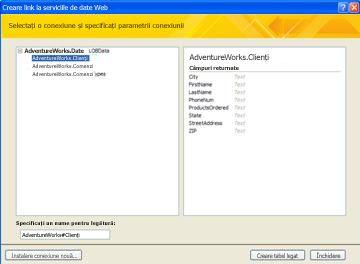 O conexiune de date serviciu web disponibilă pentru legare