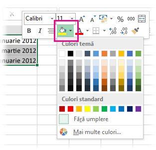 Faceți clic cu butonul din dreapta pentru a adăuga o culoare de umplere la celule