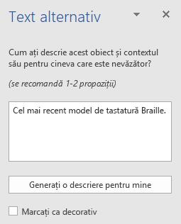 Panoul Word Win32 Text alternativ pentru imagini