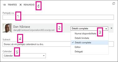 Partajarea calendarului în Office Web App