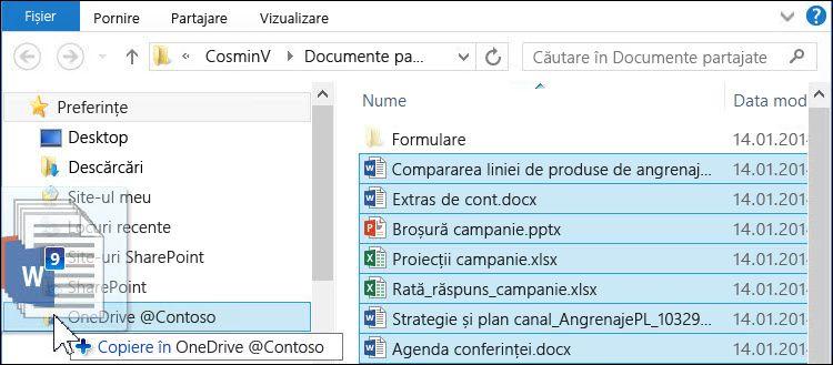 Glisați fișiere în folderul OneDrive pentru business sincronizat pentru a le încărca