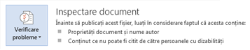 Inspectare document în Word 2013