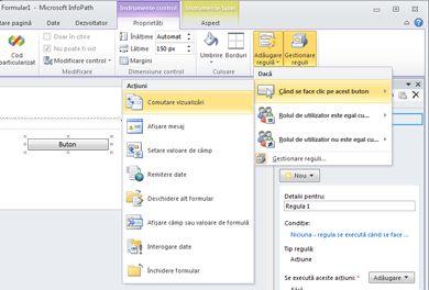 Adăugarea, ștergerea și comutarea între vizualizările dintr-un formular