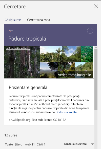 Panoul Cercetare afișând rezultatele căutării pentru Pădure tropicală