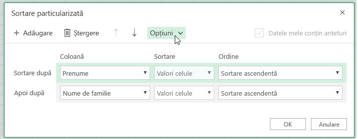 Caseta de dialog Sortare particularizată cu butonul opțiune selectat