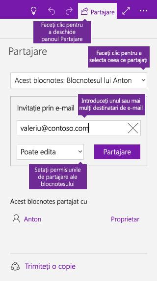 Captură de ecran cu partajarea unui blocnotes întreg în OneNote