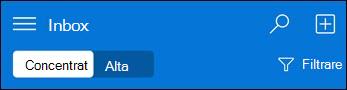 Navigarea de sus pentru mini Outlook Web App