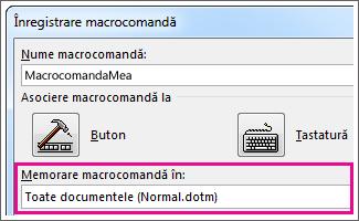 Casetă pentru selectarea locului de stocare a macrocomenzii
