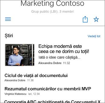Captură de ecran cu Știri de echipă pe site