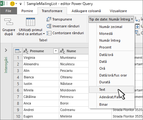 Fereastra Power Query cu textul selectat
