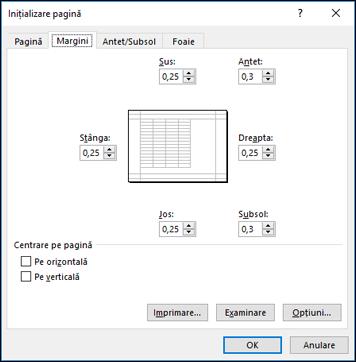 Inițializare pagină > opțiuni margine