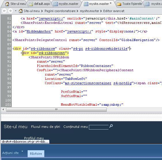 Utilizarea etichetelor DIV când particularizați pagina coordonatoare Site-ul meu