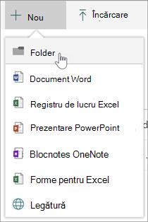 Meniul nou afișând Opțiuni folder nou