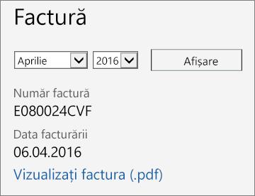Captură de ecran a secțiunii Factură aferente paginii de Detalii factură din Centrul de administrare Office 365.