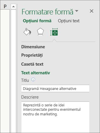 Captură de ecran cu zona Text alternativ din panoul Formatare formă care descrie ilustrația SmartArt selectată