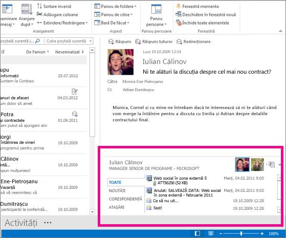 Outlook Social Connector după ce a fost extins