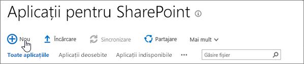 Catalogul de aplicații SPO SharePoint cu noul buton evidențiată