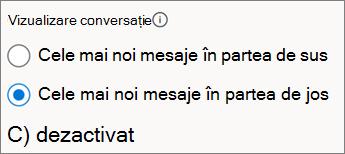 Vizualizarea conversație comută în Outlook pe web