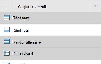 Meniul de opțiuni pentru stilul de tabel Word pentru Android
