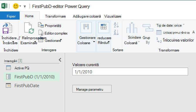 Editor Power Query afișând un parametru