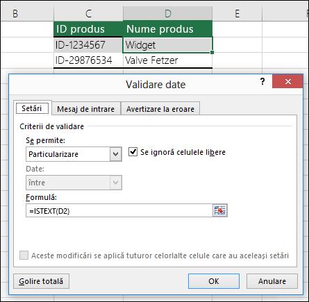 Exemplul 2: Formule în validarea de date