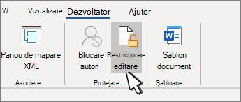 Butonul restricționare editare