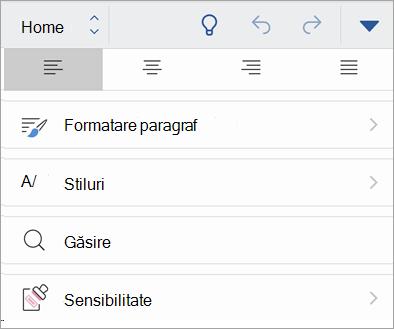 Captură de ecran a butonului sensibilitate din Office pentru iOS