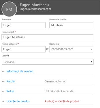 Introduceți informațiile de utilizator în fișa Utilizator nou