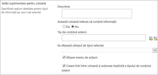 Opțiuni de coloană date externe