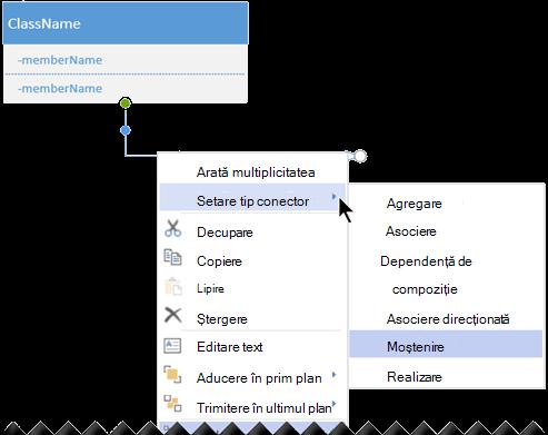 Faceți clic dreapta pe un conector și selectați Setați tipul de conector pentru a vedea opțiunile pentru tipurile de conector.