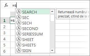Lista Completare automată formulă