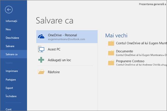 Salvare ca având OneDrive ca valoare implicită