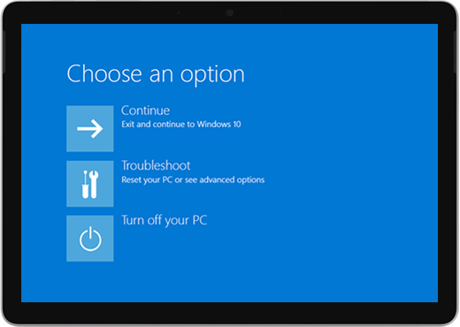 Un ecran albastru cu opțiuni pentru a continua, a depana sau a dezactiva PC-ul.