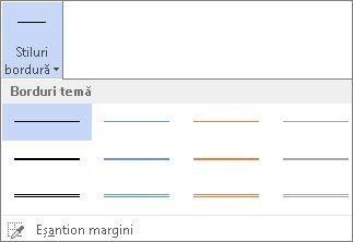 Stiluri bordură tabel