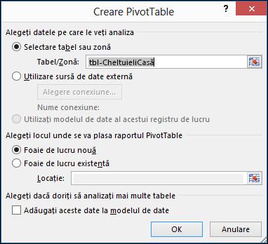 Dialog creare PivotTable Excel