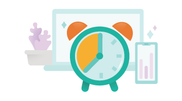 Ilustrație cu un ceas cu alarmă în fața unui laptop și a unui telefon