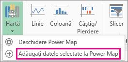 Comanda Adăugați datele selectate la Power Map