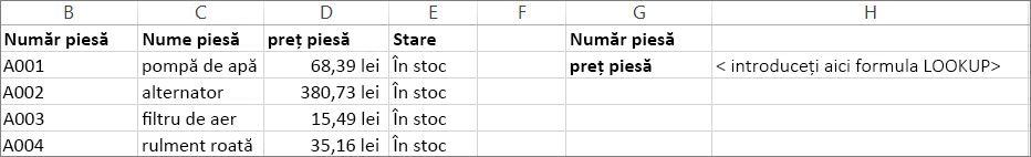 Un exemplu de utilizare a funcției LOOKUP