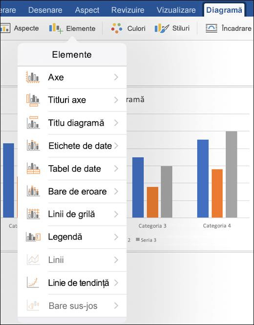Faceți clic pe elemente în fila diagramă de pe panglică pentru a particulariza elemente de diagramă în document