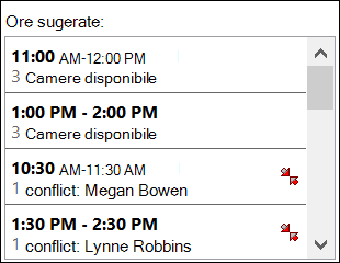Utilizați selectorul de ore sugerate pentru a vedea când sunt disponibile participanții.
