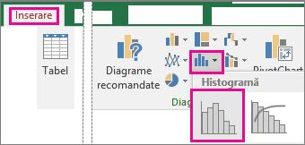 Comanda Histogramă accesată din butonul Inserați o diagramă statistică