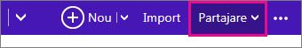 Outlook.com - faceți clic pe partajare pentru a alege un calendar