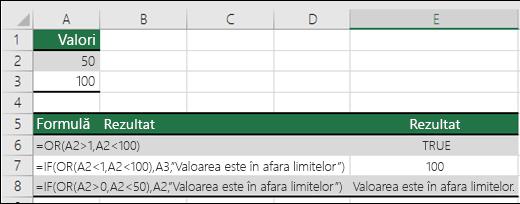 Exemple de utilizare a funcției OR cu funcția IF.