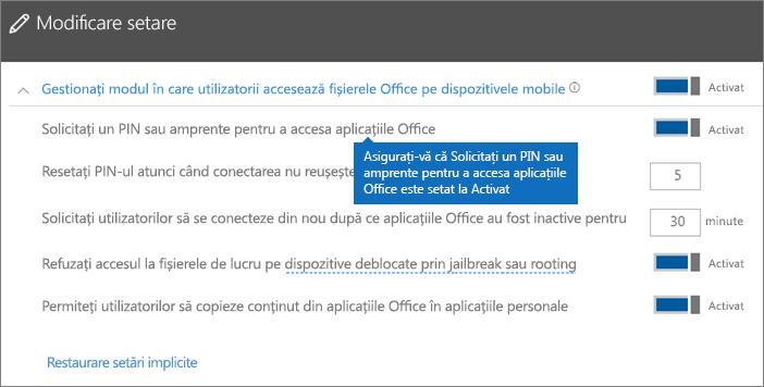 Asigurați-vă că opțiunea Solicitați un PIN sau a amprentă pentru a accesa aplicațiile Office este setată la Activat.